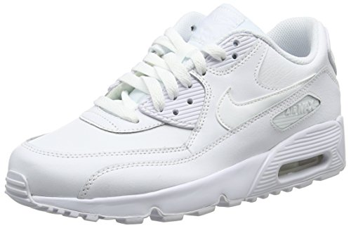 superior quality 0ce24 6eced Nike Girls Air Max 90 Leather Running Shoes, White (White White 100)
