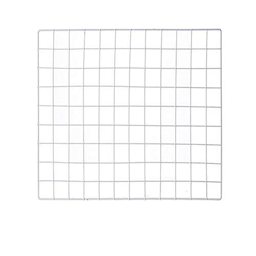 Shouyu diy pannello griglia,ins mesh decorazione foto parete,multifunzione griglia ferro foto parete,wall art display organizer (bianco,60×60cm)