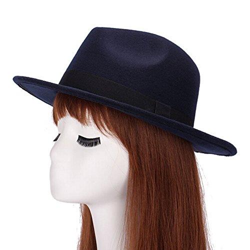 Demarkt Femme Homme Chapeau Melon Panama Feutre de Laine Automne Hiver Chapeau de Jazz Bleu Foncé