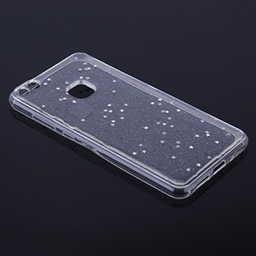 Paillette Coque pour Huawei P10 Lite,Huawei P10 Lite Coque en Silicone Étui Ultra Mince Housse,Ukayfe [Liquid Crystal] Ultra-Fine Étoiles Motif Glitter Paillette TPU Silicone Coque pour Huawei P10 Lit Étoiles