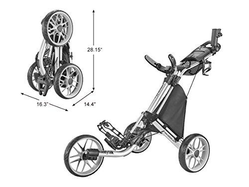 CaddyTek Caddylite EZ V8 - EZ-Fold Golftrolley mit 3 Rädern, zum Schieben, zusammenklappbar, CaddyLite EZ Version 8 Silver, Silber, Einheitsgröße -