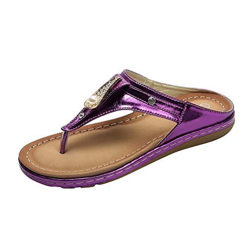 ZIYOU Slipper Damen Glitzersteine Hausschuhe Weise Frauen Rhinestone Sandalen Klippzehe Pantoffeln Beiläufige Strandschuhe(Violett,37 EU)