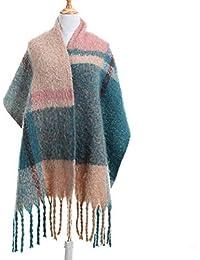 Écharpe Femme Hiver Châle Plaid XXL Chaude Longue Grande à Carreaux avec  Frange Elégant Multicolore 3a72231024b