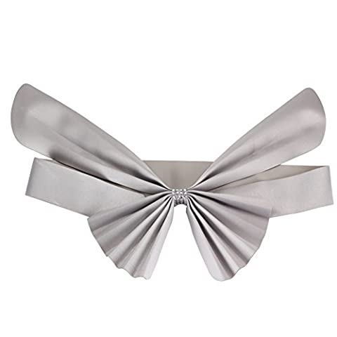 Merssavo Echarpe de housse Elastique N?ud papillon Argent Decoration pour Chaise