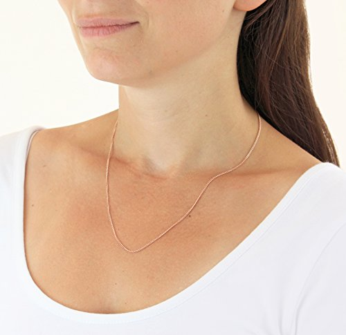 Carissima Gold 9ct Rose Gold Diamond Cut Curb Chain Necklace of 46cm/18″