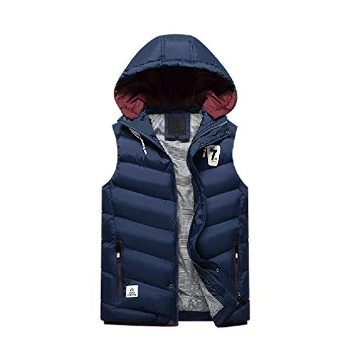 CuteRose Men Loose Warm Oversized Down Puffer Thicken Business Dress Vest Blue M - Big Mens Down Vest