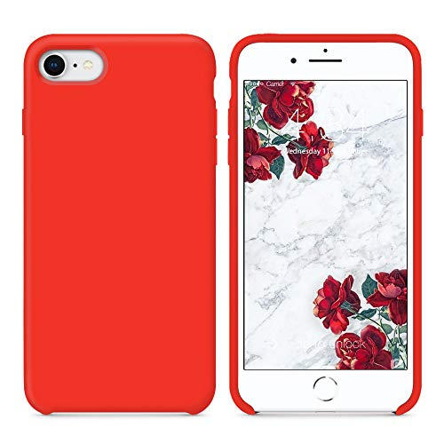 Cover iphone 8, cover iphone 7, surphy ultra sottile e anti-graffio antiscivolo silicone custodia cover per iphone 8, iphone 7 (4.7 pollici) (rosso)