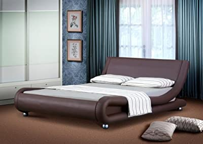 4ft6 Italian Designer Faux Leather Double Mallorca Bed Frame in CHOCOLATE - cheap UK light store.