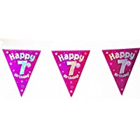 Happy 7th Birthday Flag Bunting Age Girls Pink Kids Banner Partyware Decorations