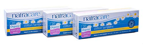 Natracare Tampons Super Plus, 3er Pack (3 x 20 Tampons) -