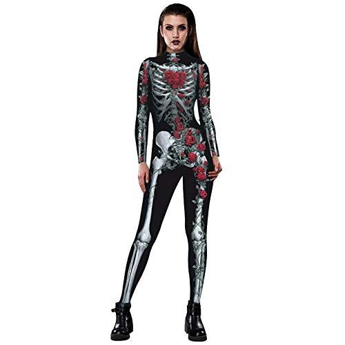Zygeo - Schädel-Skelett Jumpsuit Catsuit Sexy Cosplay Kostüme Halloween Frauen Bodysuit Abendkleid [SB] (Skelett Sexy Kostüme)