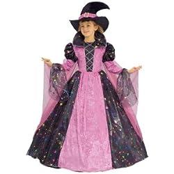 Disfraz de bruja de lujo para niña. Color rosa.
