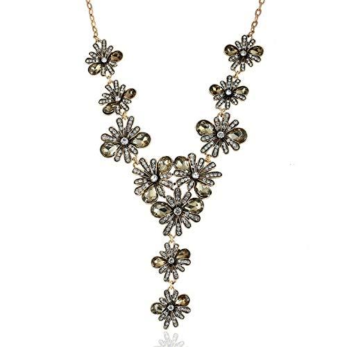Damen Halskette,Halskette Modeschmuck, Übertrieben Vintage Geschnitzte Schlüsselbein Kette Kreative Champagner Temperament Glas Diamant Halskette, Personalisierte Kleidung Accessoires Schmuck