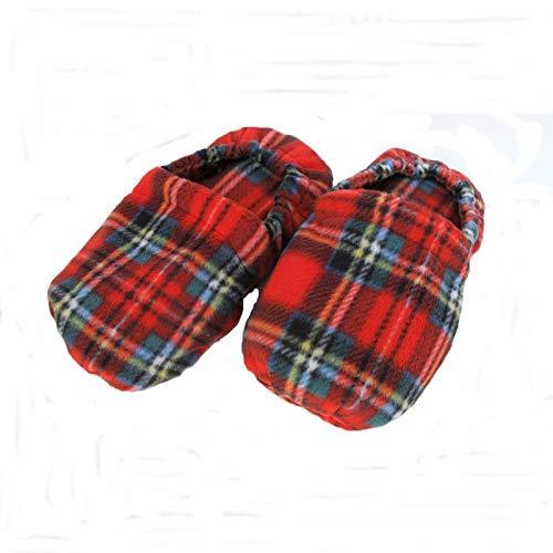 Wärmende Hausschuhe Kirschkernkissen Fußwärmer Massage Fußbett rot Schottenkaro-hergestellt in Emilia Romagna