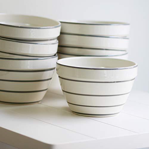 Desconocido Bowl - Saladier - Rayures Grises - Fabriqué au Portugal - Diamètre 21 cm/Hauteur 14 cm
