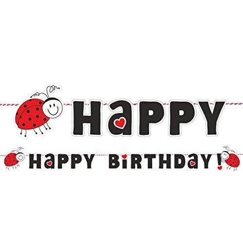 Girlande Happy Birthday zum Kinder-Geburtstag Marienkäfer Dekoration Geburtstags-Feier-Party. Von Haus der Herzen ® (Marienkäfer Kindergeburtstag Dekoration)