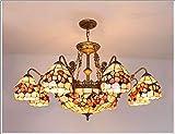 36 Zoll Tiffany-Stil Deckenleuchter E27 natürliche Blume Beleuchtung geschmiedet Wohnzimmer Kronleuchter für Schlafzimmer Esszimmer Wohnzimmer Café Linghting,B
