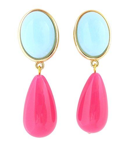 Türkis-pinke, leichte sehr große Ohr-Clips vergoldet Stein hell-blau Anhänger pink tropfen-förmig schick Geschenk für Frauen Designer JUSTWIN