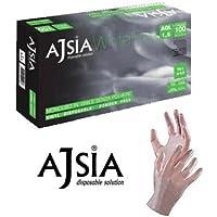 Ajsia guanti vinile medicali White Free senza polvere e lattice AQL 1,5 confezione 1000 pezzi (10x100)