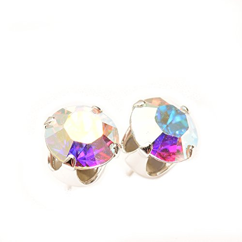 Aurora borealis ear studs 6mm ball 925 sterling silver sparkling crystal earrings women's rainbow colors 07udB
