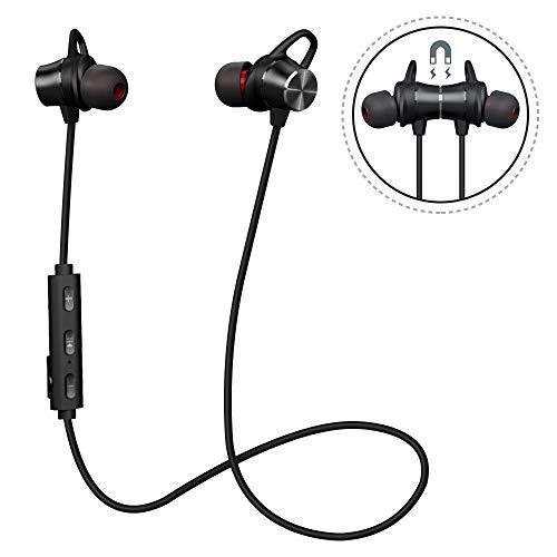 Auriculares Bluetooth Magnéticos, Auriculares Deportivos Inalámbricos con Micrófono, IPX4 Impermeable HD Estéreo Auriculares, Cancelación de Ruido In Ear Auriculares (Negro)