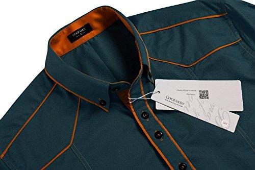 Coofandy Chemise Homme Manche Longue Coton Contrasté Col Italien Boutonné Casual Taille S-XXXL Vert Foncé