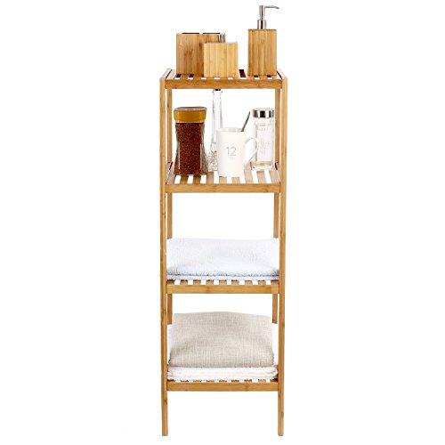 Homfa estanter a de bamb con 4 baldas estantes de libros for Estanterias de bambu para bano