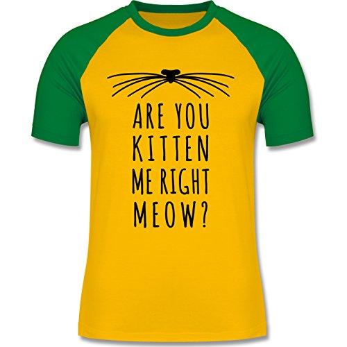 Statement Shirts - Are your kitten me right meow? Katze - zweifarbiges Baseballshirt für Männer Gelb/Grün