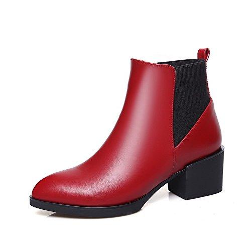 VogueZone009 Damen Blend-Materialien Schließen Zehe Niedrig-Spitze Stiefel Rot-Spitze