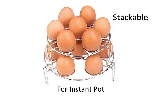 Stapelbar Ei Dampfer-Rack für sofortige, hapway 2Pack Edelstahl Küche Kochgeschirr Untersetzer Gemüse Ei Dampf Rack Ständer Kochen Eierkocher, Ware Dämpfen Set,