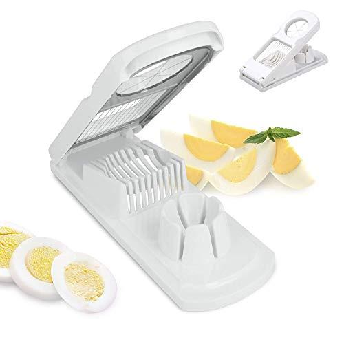 Mein HERZ 2 in 1 Eierschneider, Universal Eierschneider Edelstahl Drähte, Eierteiler, schneidet sauber und exakt, Küchenhelfer zum Schneiden von Eiern, Pellkartoffeln, rostfreier Schneidedraht, Weiß