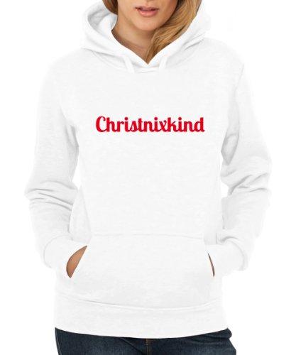 ::: CHRISTNIXKIND ::: Hoodie ::: Damen Weiß mit rotem Aufdruck