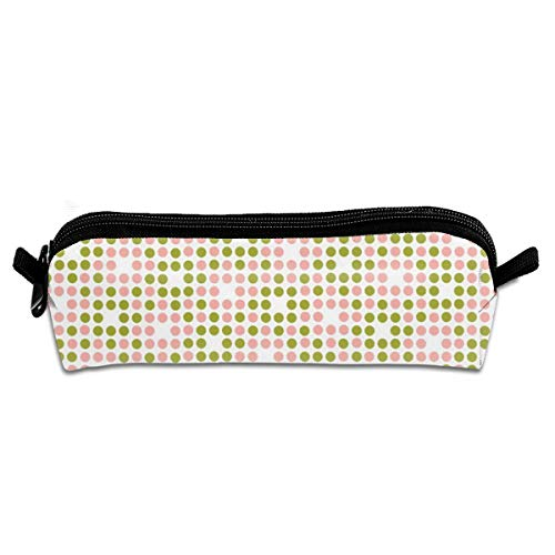 Dot Matrix Polka Dots Dot Bitmap Pixel Avocado Olive Green Coral PinkPencil Bag Pen Case Pen Pencil Stationery Pouch Bag Case PU Leather Small Pencil Pouch for Students children - Olive Avocado