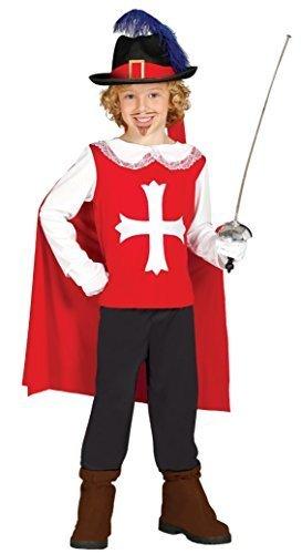 Musketiere Kostüme 3 Die (Jungen rot Musketier Französisch Soldaten Die drei Musketiere historisches Buch Tag Kostüm Verkleidung Outfit - Rot, 3-4)