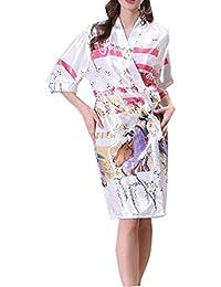 Bata De La Mujer Albornoz Media Manga Gran Tamaño Camisón Damas Verano Satén Camisón Casa Casual