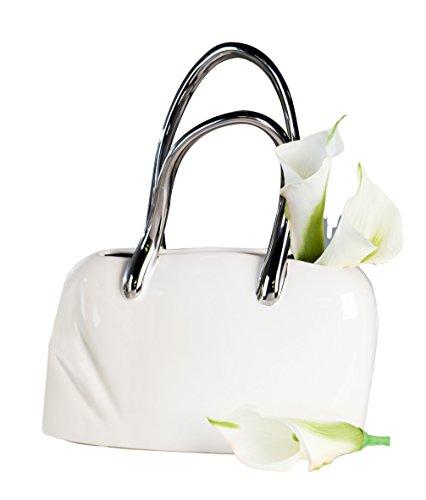 Exklusive Deko Tischvase in Form einer Handtasche aus Keramik weiß/silber