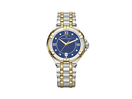 Reloj de Cuarzo Maurice Lacroix Aikon Ladies, Azul, 35 mm, Diamantes, PVD de Oro