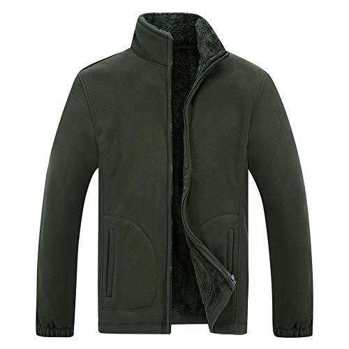 Beixundianzi giacca in pile, da uomo, con cerniera su tutta la lunghezzagiacca da camera uomo full zip in pile giacca sportiva con collo rialzato b-army green 3xl