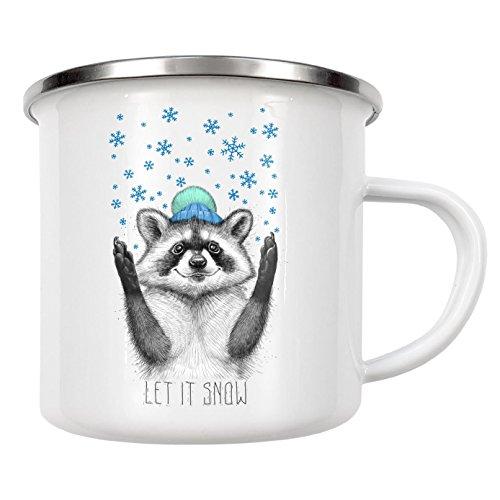 artboxONE Emaille Tasse 'Let it snow' von Nikita Korenkov - Emaille Becher Fashion