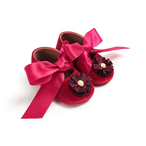 WangsCanis Baby Mädchen Newborn Casual Weiche Sohle Loafers Mokassin Blume Perle Bowknot Turnschuhe Schuhe (0-6 Monate, Rot)