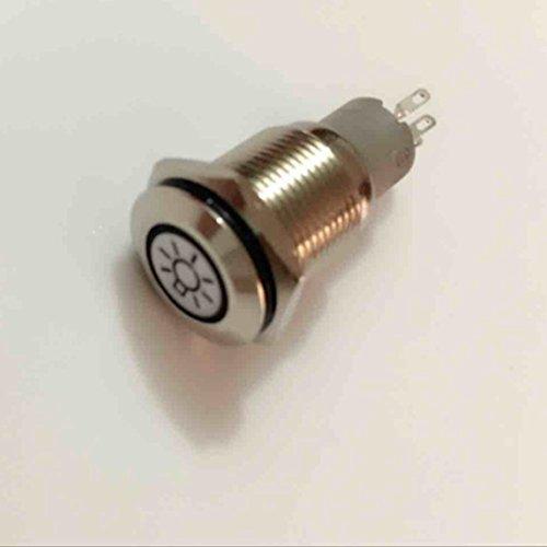 Mintice 16mm bleu LED 12V bouton poussoir voiture métal interrupteur Lumière principale