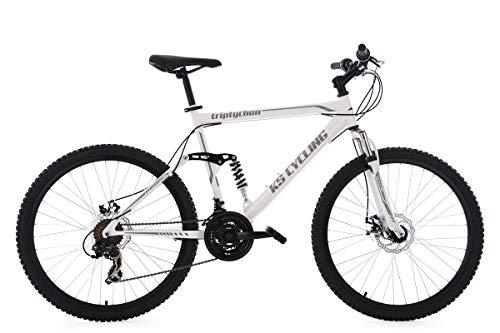 """KS Cycling Herren Mountainbike MTB Fully Triptychon 26\"""" weiß RH 51 cm Fahrrad"""