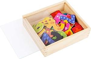 Small Foot 10731 - Números magnéticos en Caja de Madera, 40 números de 0 a 9 en un diseño Colorido, Aprendizaje de aritmética y promoción de la comprensión de los números