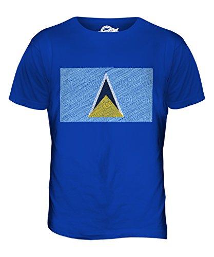 CandyMix St. Lucia Kritzelte Flagge Herren T Shirt Königsblau