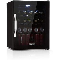 Klarstein Beersafe XL Onyx réfrigérateur avec porte en verre • Mini réfrigérateur • Mini bar • 60L • 0 à 13°C • 42db • Éclairage LED • 4 tiroirs • Onyx-noir
