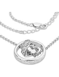 Taffstyle® Damen Halskette mit Ring Herz Anhänger in Weißgold oder Rosegold plattiert Kette Herzanhänger