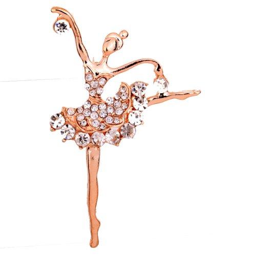 2014 Prom Kleider (Yazilind Schmuck-Geschenk Rose Gold Glaring Kristall Broschen und Pins für Kleider Prom Dancing Girl Kristall Charmingfor Frauen & Girls)