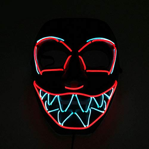 Queta Halloween Masken, LED Leuchten Festival Maske Beängstigendes Gesicht Cosplay Party Mask Halloween Accessoires Leuchtet im Dunkeln Batterie Angetrieben(Nicht Enthalten)