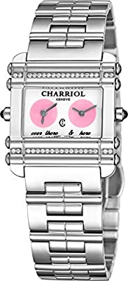 Charriol Actor Womens Stainless Steel Diamond Watch - Mother of Pearl Face Ladies Watch with Dual Time Zones and Sapphire Crystal - Swiss Made Quartz Rectangular Watch for Women CCHDTD1.110.HDT02