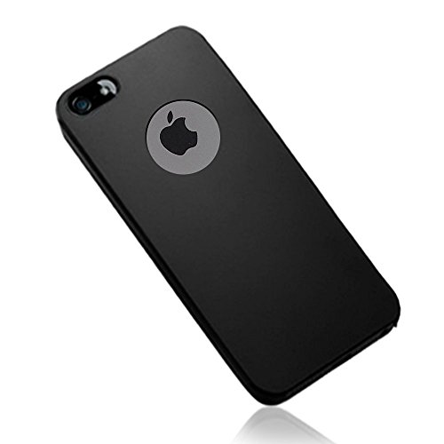 Elv Ultimate Protection Super Slim Anti-slip Matte finish coat Protective Hard Back Case Cover for Apple iPhone SE / 5S / 5,Black